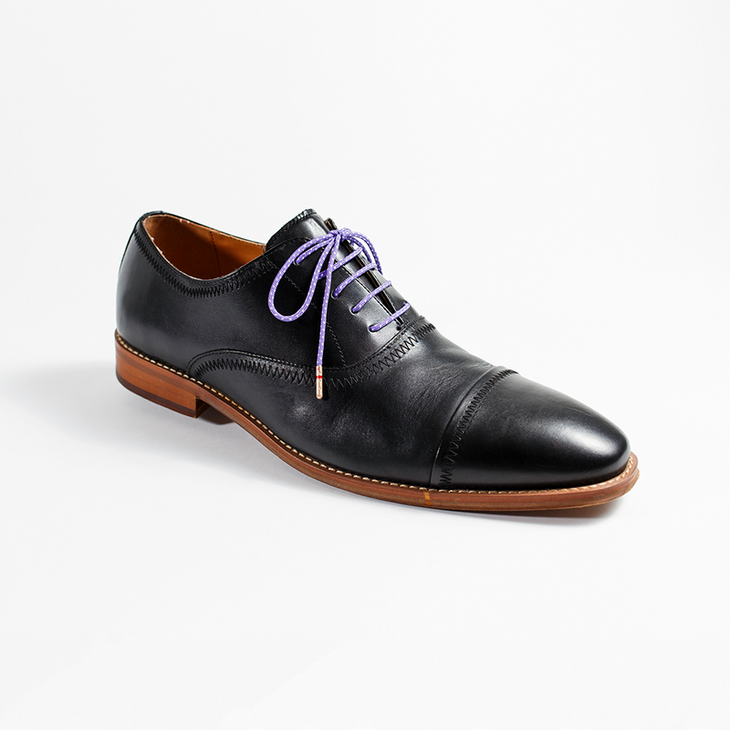 Whiskers Laces Purple White Ticked Shoelaces