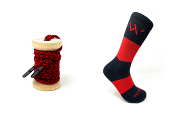 Red & Black Braided Dress Laces + Red & Black Banded Jacques Sock
