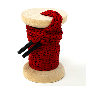 Red & Black Flat Ticked Sneaker Laces