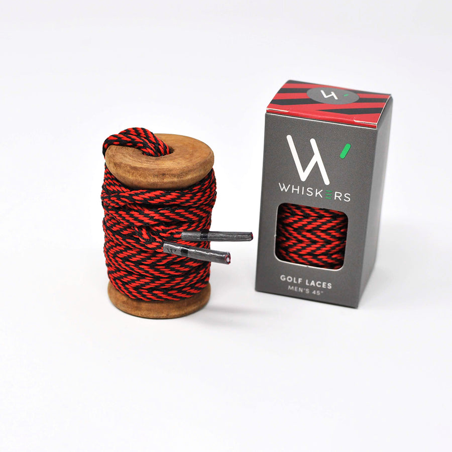 Red & Black Athletic Oval Golf Laces