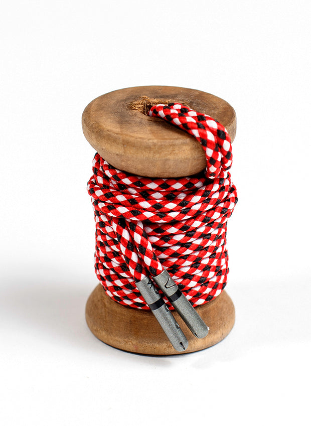 Red, Black & White Braided Dress Laces 1