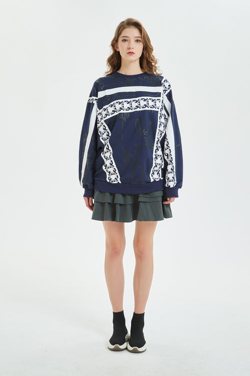 Diman Sleeve Sweatshirt With Geometric Print