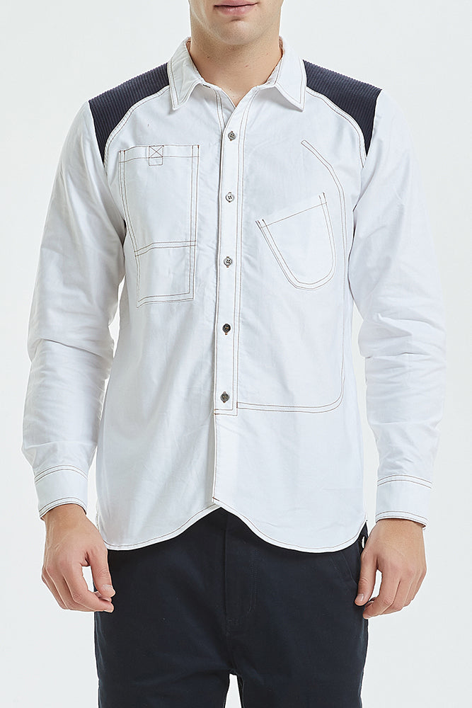 Vintage Inspired Long Sleeve Patch Work Shirt