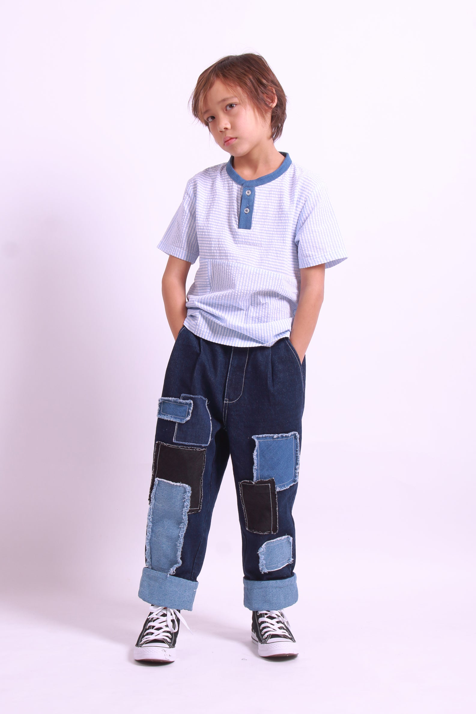 Loose Fit Patchwork Jeans