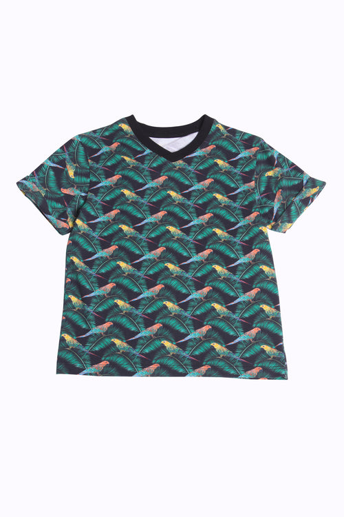 Cotton T-Shirt with Parrot print
