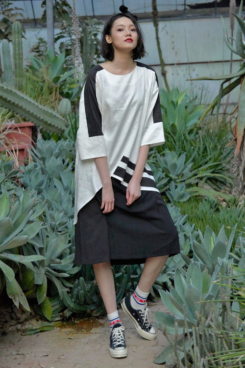 Youth volume maxi smock dress in stripe