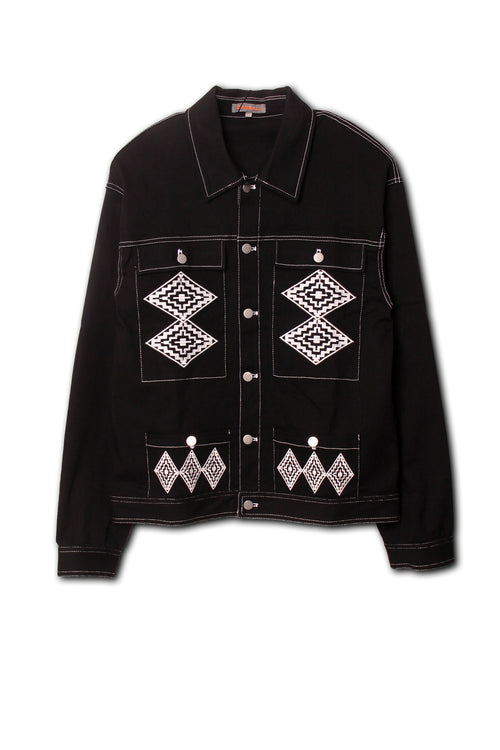 Ethnic Embroidered Denim Jacket in black
