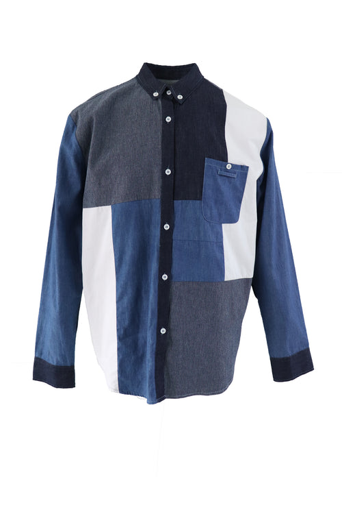 Vintage denim patchwork shirt