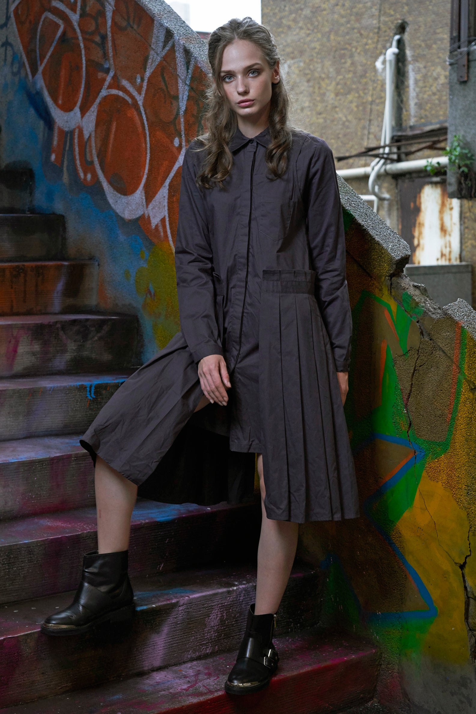 Cotton Pleated Swing Shirt Dress