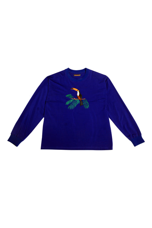 Long sleeve Sweatshirt with embroidered Toucan