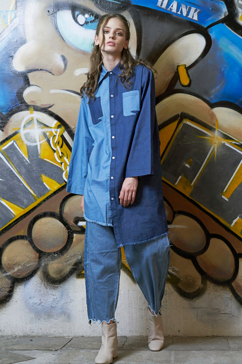 Oversized Colour Block Denim Shirt