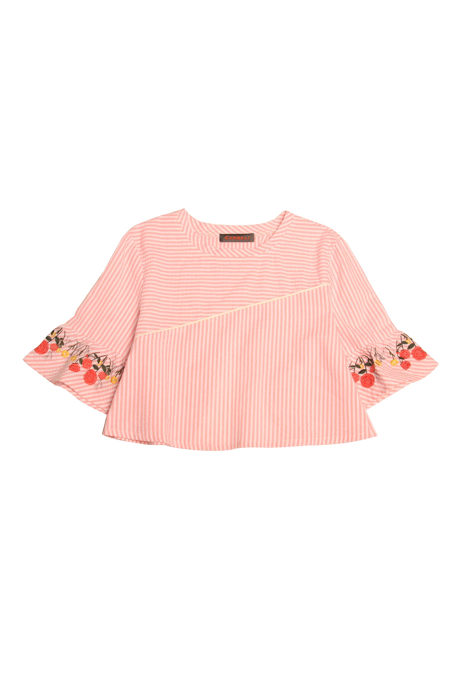 Ruffle Sleeve Top with Flower Embroidery