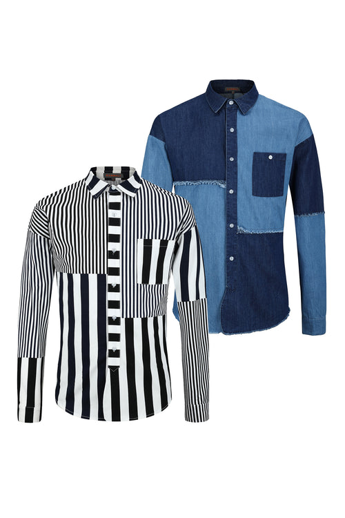 Patchwork striped Long Sleeves Shirt