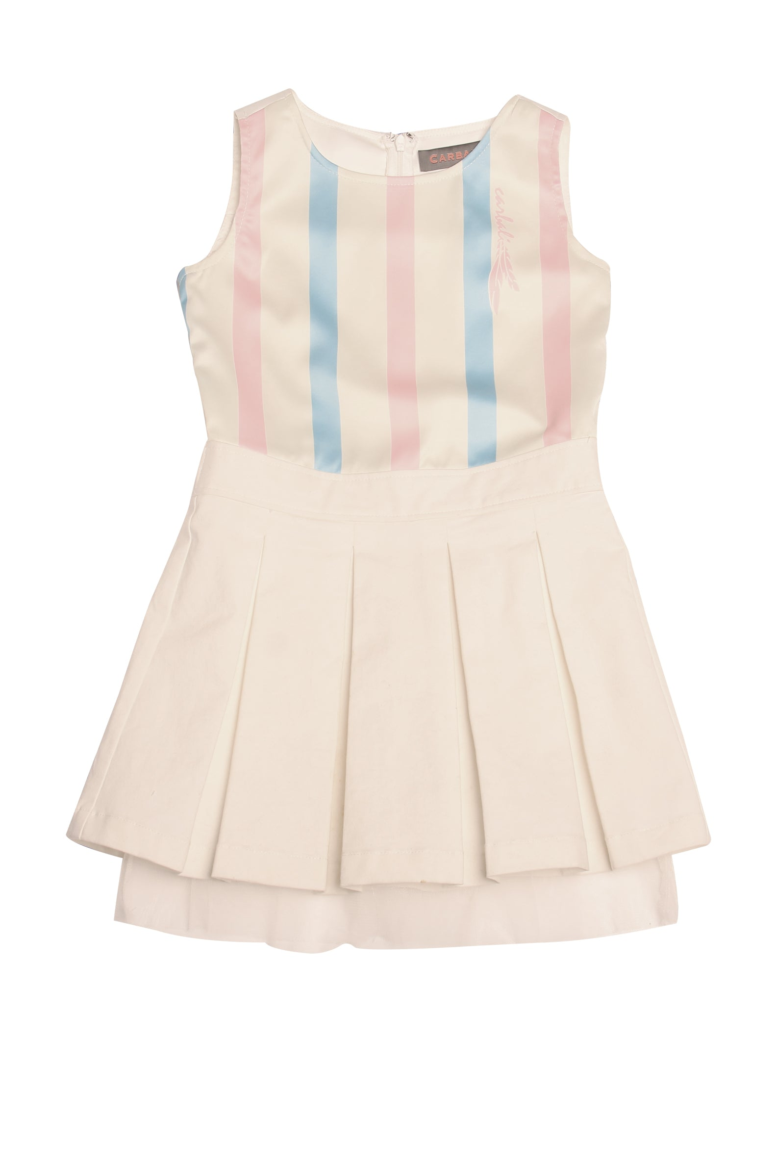 Pleat Hem Mini Dress with stripe print