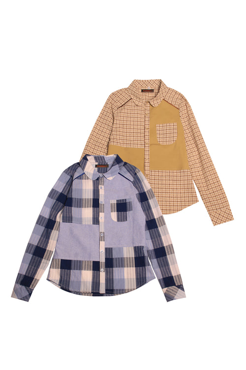 Color Block Shirt with Checked patterns