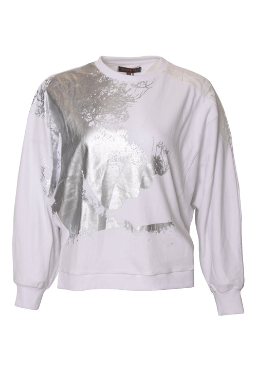 Abstract Pattern Dlman Sleeve seethrough shoulder Sweatshirt