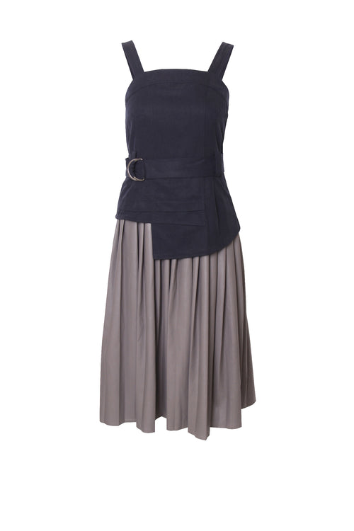 Adjusted Strap Slip Dress With Pleated Hem Detail