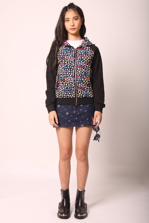 Printed  Zip-Up Hoodie Jacket