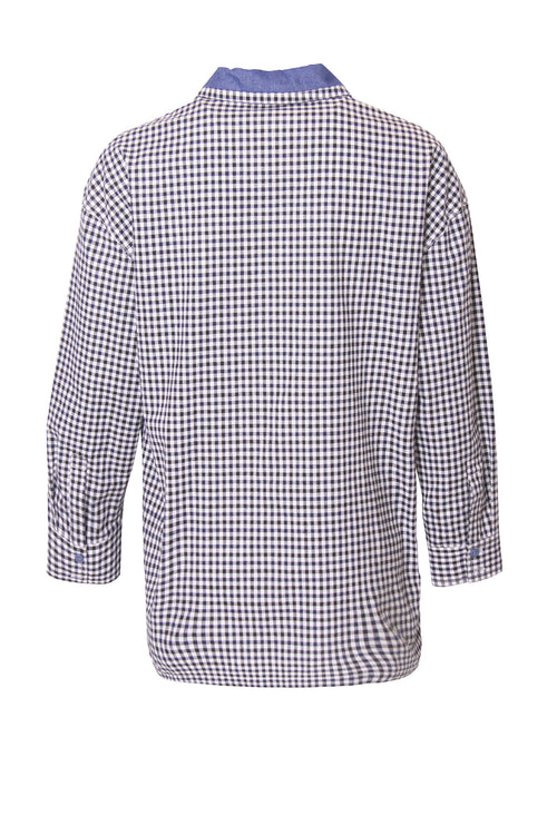 Checkered Colour Block Denim Shirt