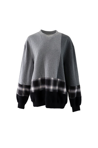 Vintage check color block sweater