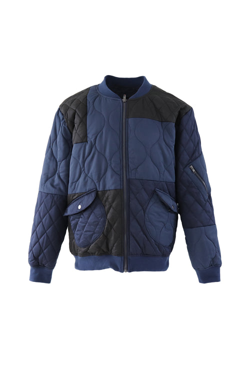 Bomber jacket with poppers and colour blocking in navy Introduction