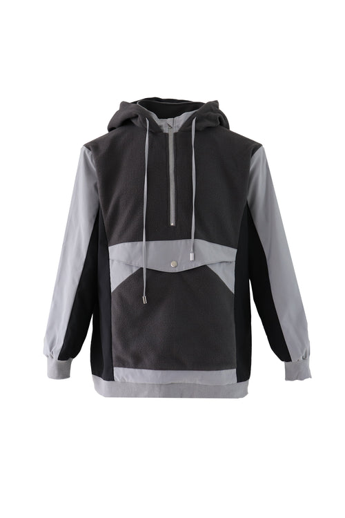 Sporty hoodie with Polyester and fleece colour block