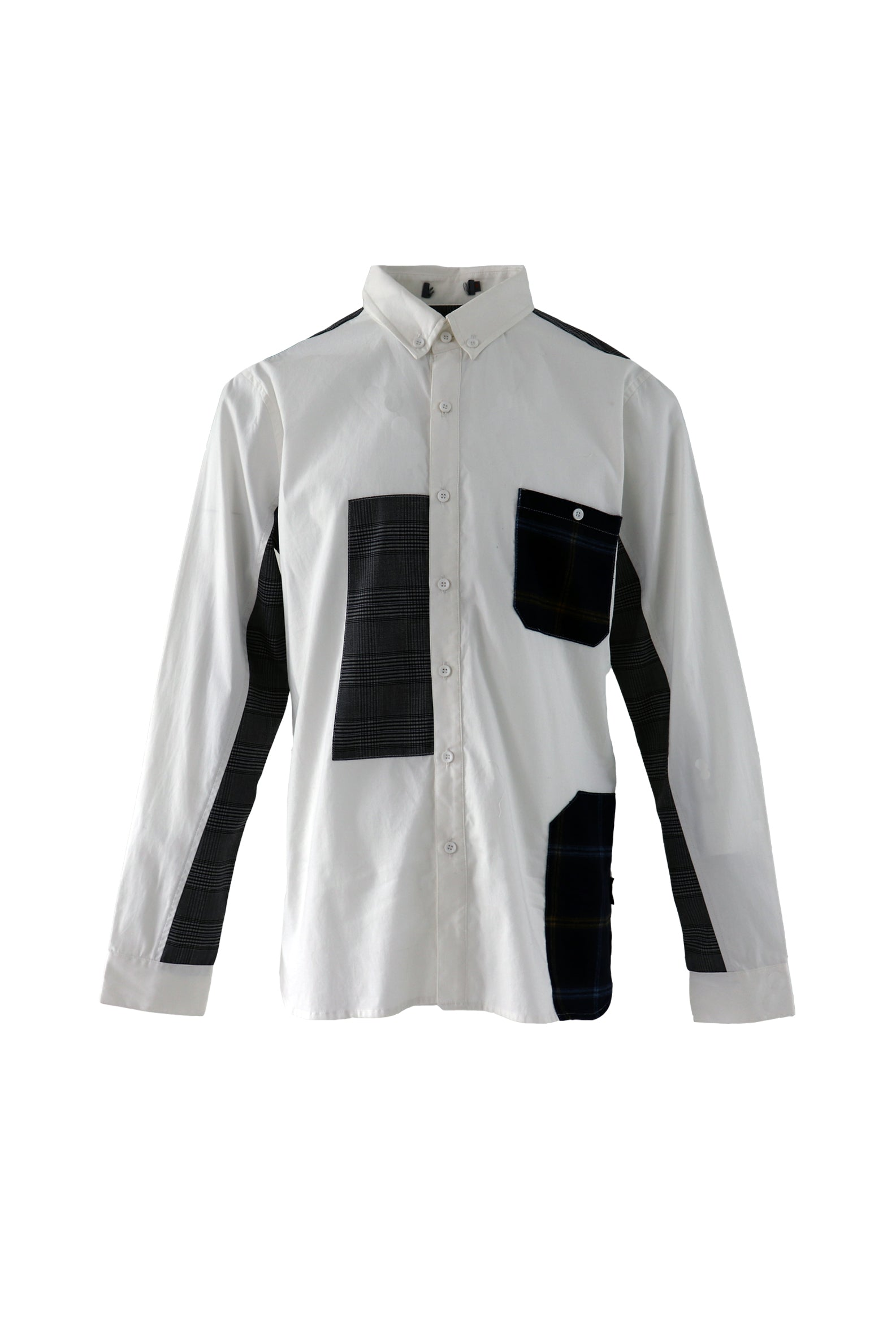 Twill shirt with patch work in white