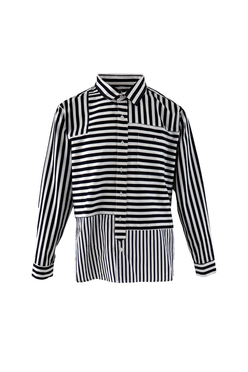 Contrast strip pattern shirt