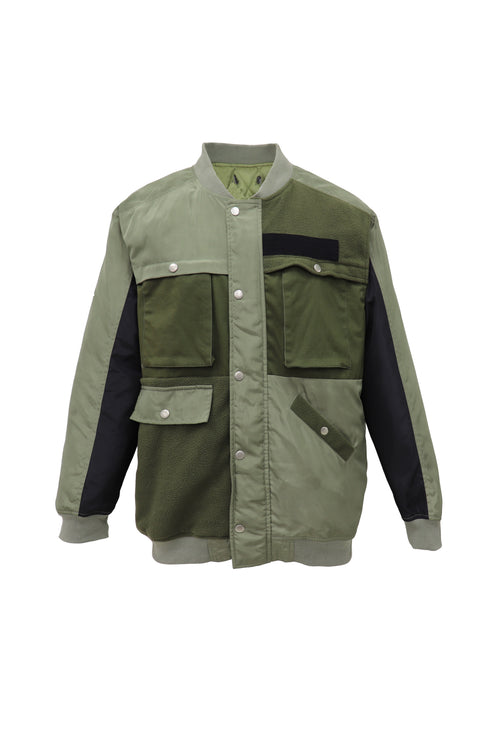 Vintage military festival jacket with contrast patch work