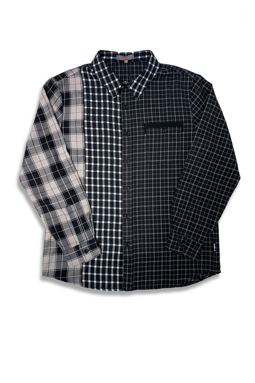 Carbali Check Patchwork shirt