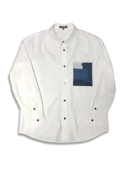 Carbali Denim Pocket shirt in white