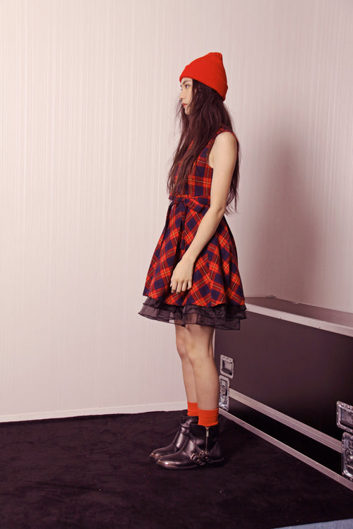Red Tartan Check Midi Dress