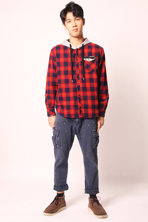 Hooded Check Cotton Shirt