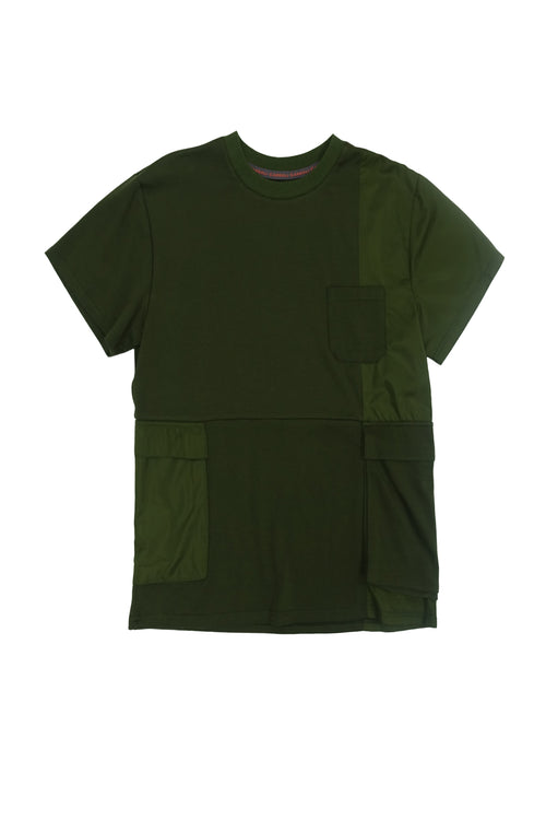Relaxed t-shirt with asymmetric patchwork