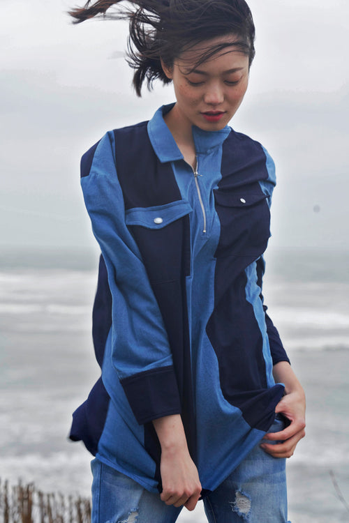Strip Color Block Denim Shirt