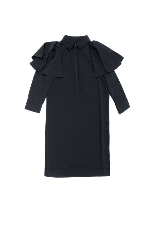 Long sleeve ruffle trim wrap shirt dress