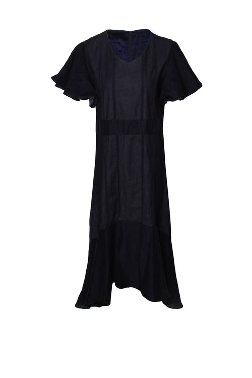 Reversible frill sleeve broderie smock dress