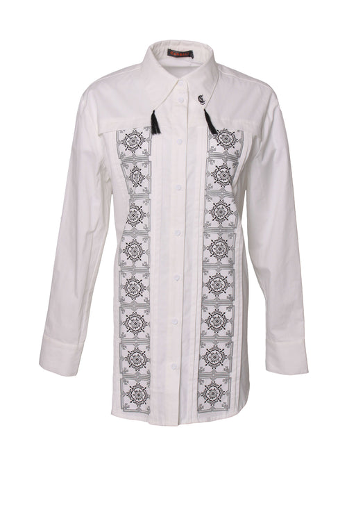 Ethnic print petite soft long sleeve shirt