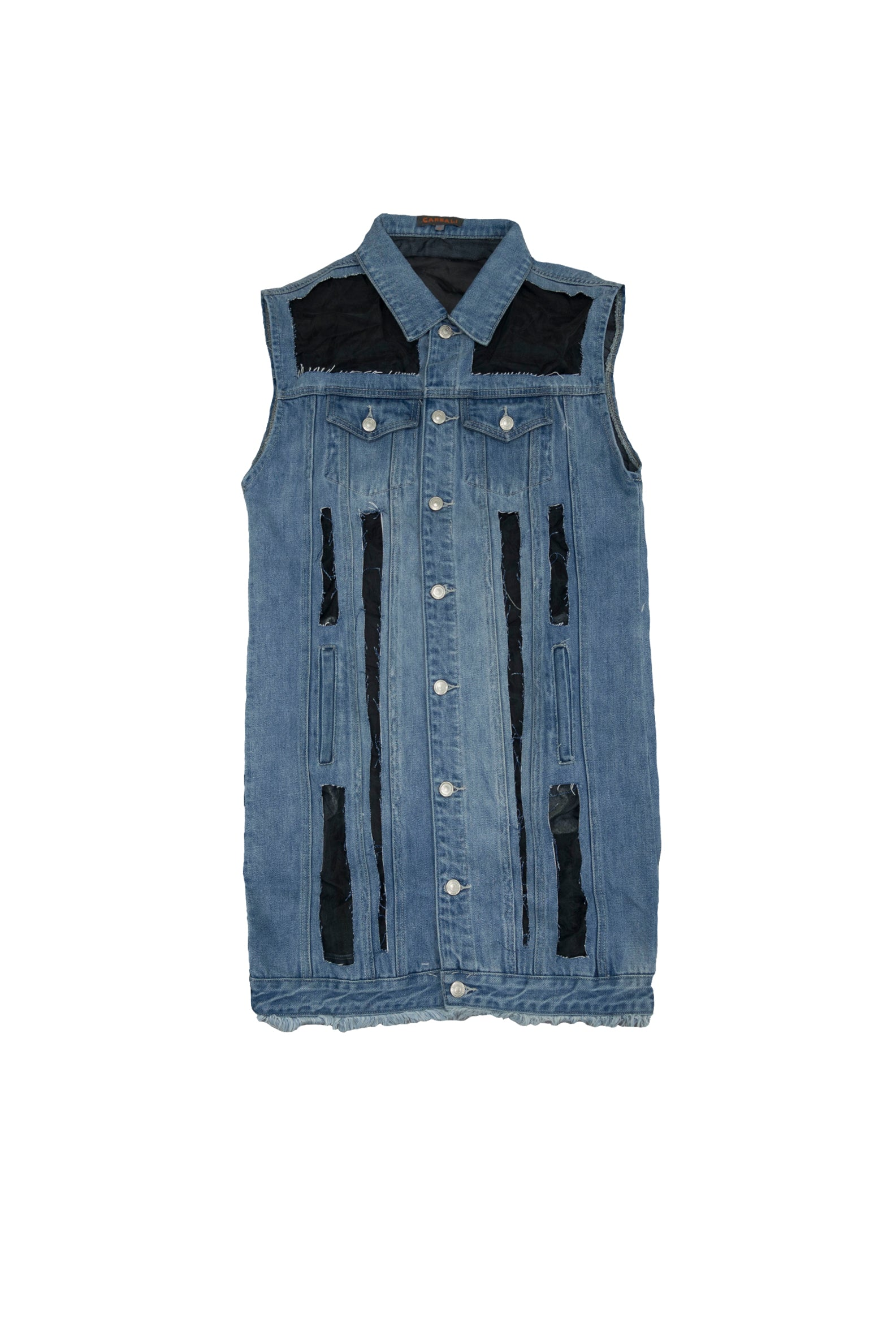 Fashion denim oversized fit sheer vest jacket