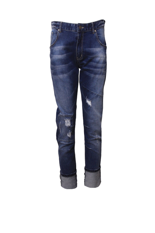 Vintage Ragged Jeans in midwash blue