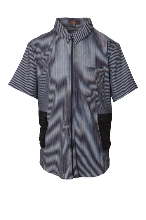 Utility pocket shirt in bushed twill stripe