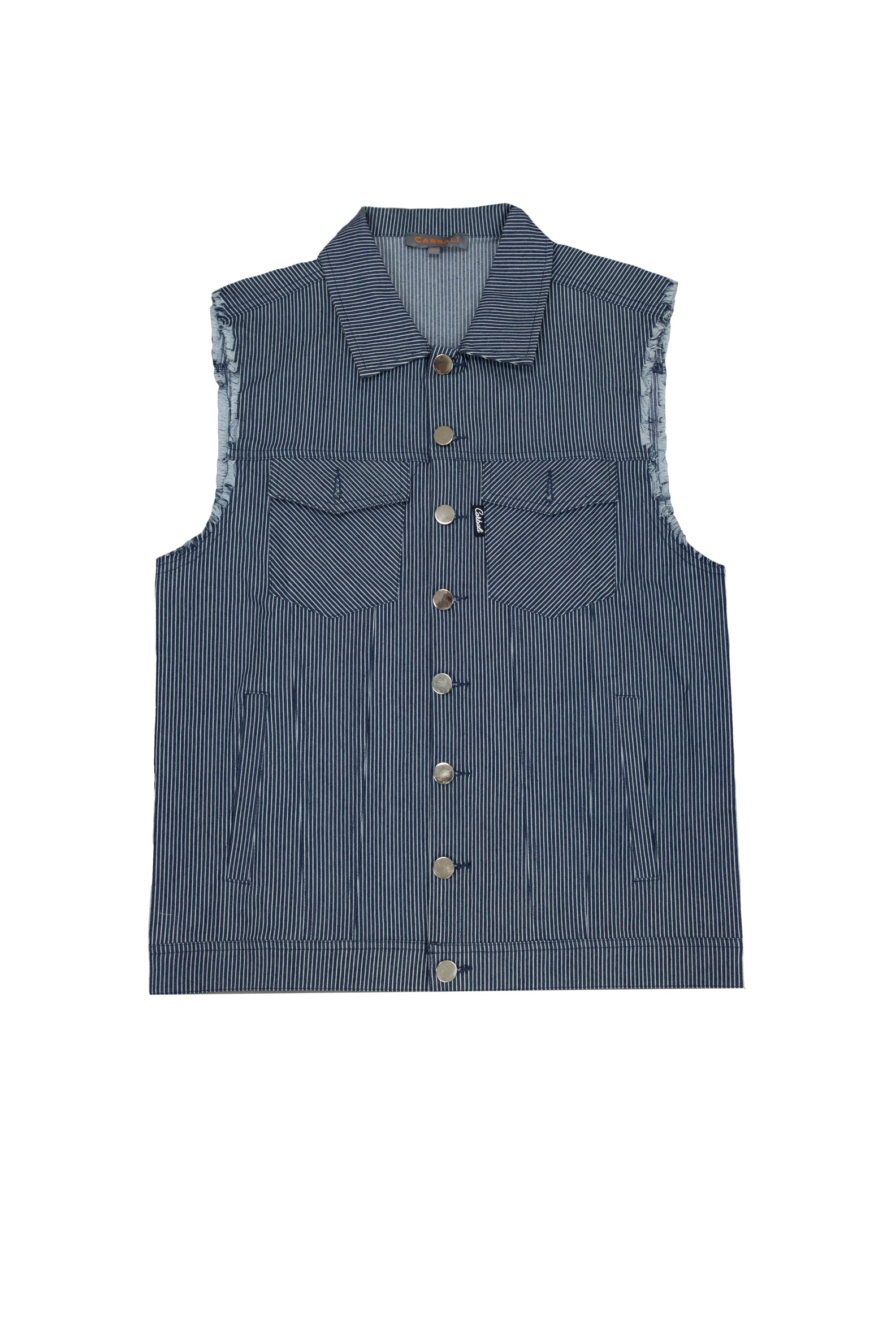 New Look denim vest jacket with drawstring in blue stripe