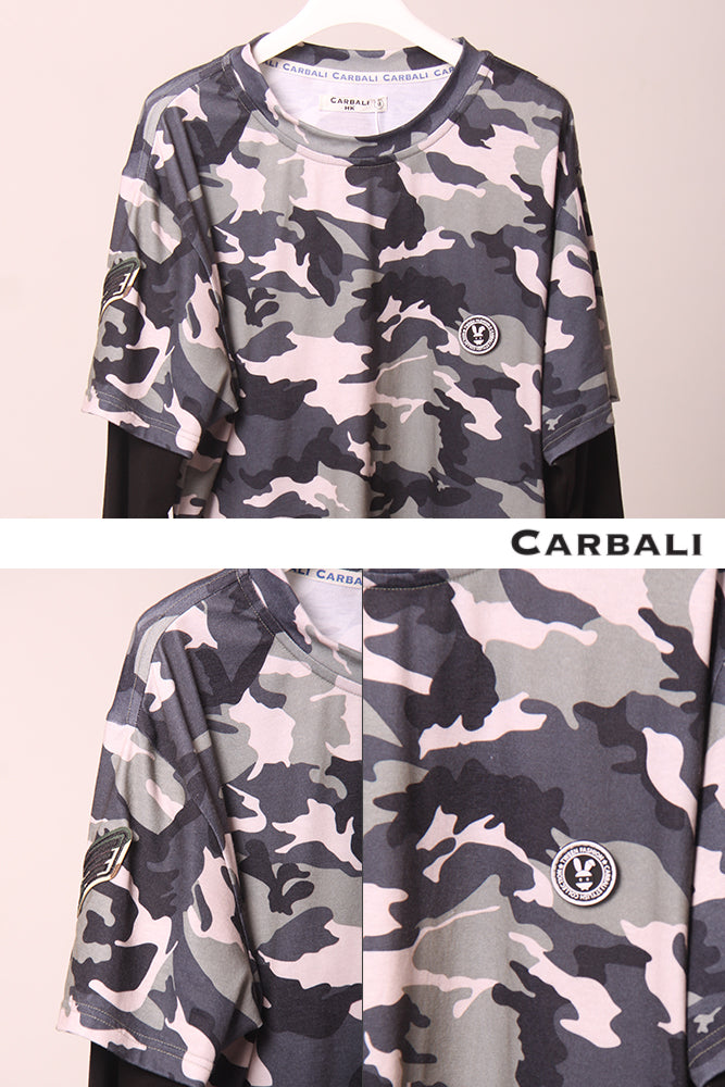 Camouflage Tee with Double layers Sleeve