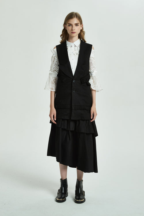Ruffle Vest Long Coat