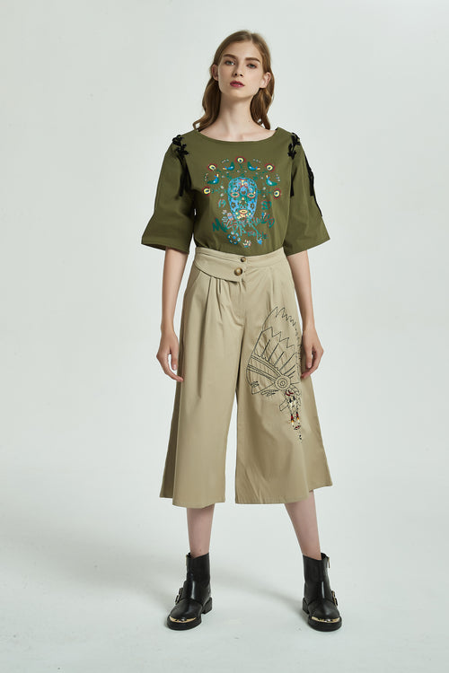 Embroidered Wide Leg Cropped Pants