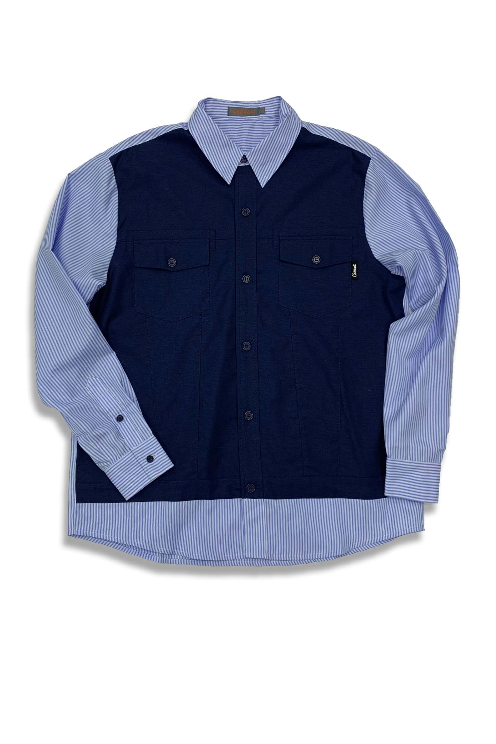 Carbali Patchwork Shirt in Blue