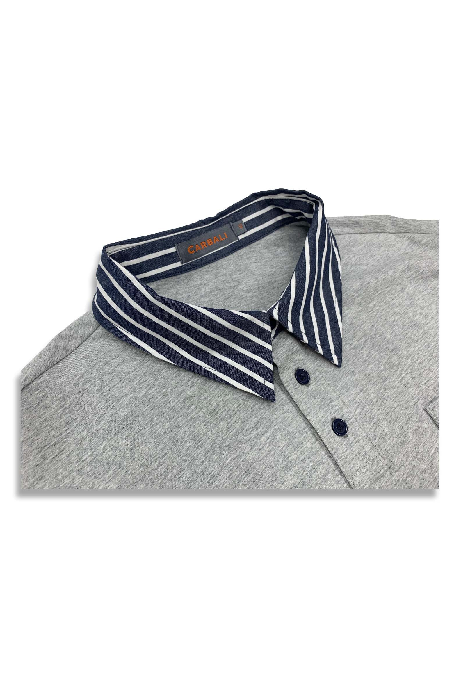 Carbali Splice Polo With Strip Pattern