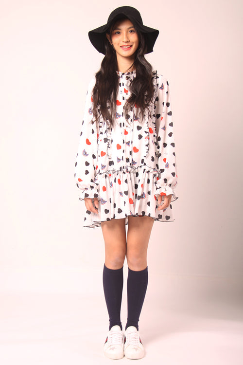 Mask and Heart Printing Ruffle Dress