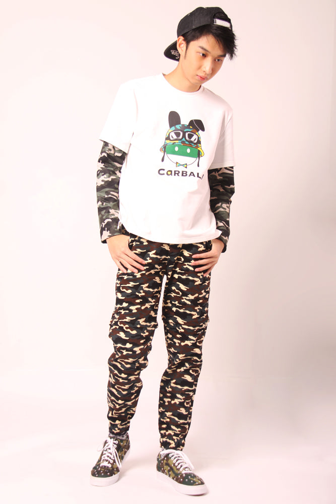 Camouflage Layer Sleeve Magic Rabbit Printed Top