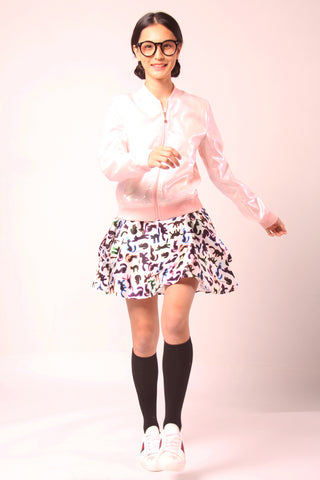 Joyful Printed  bomber polyester jacket